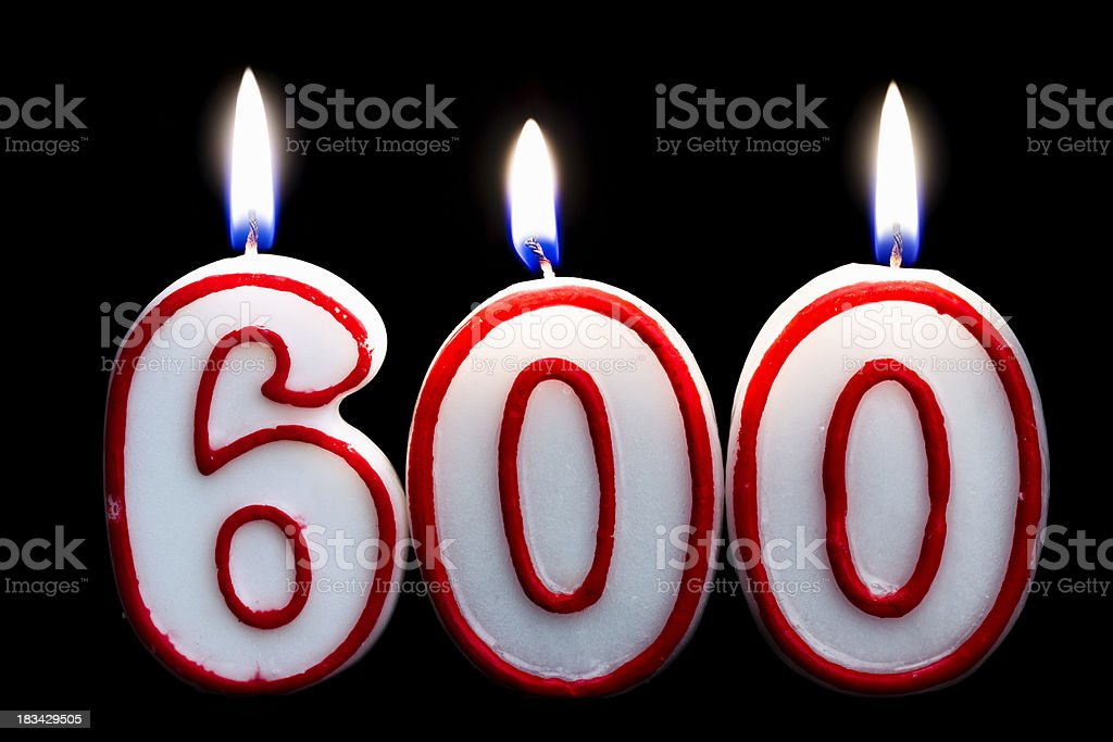 Number 600 Birthday Candle Stock Photo