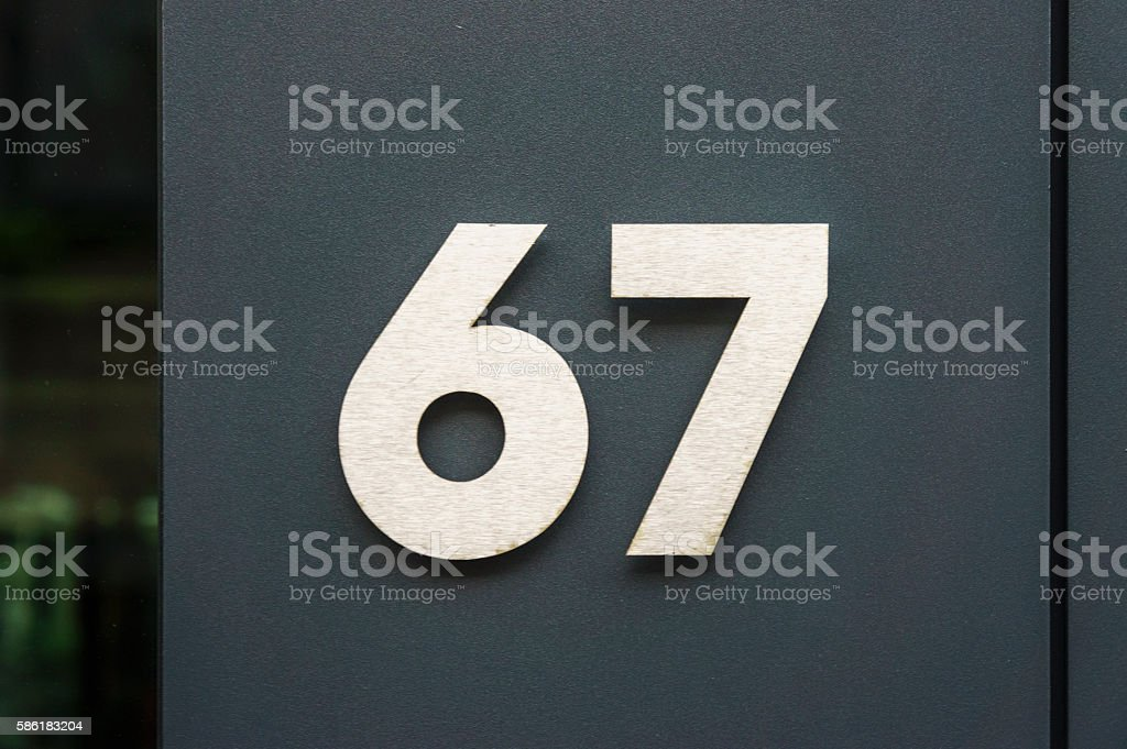 Number 67 stock photo