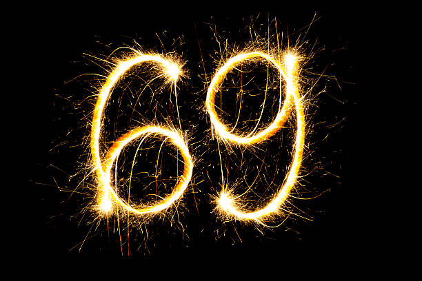 number 69 made with sparklers - number 69 stock photos and pictures