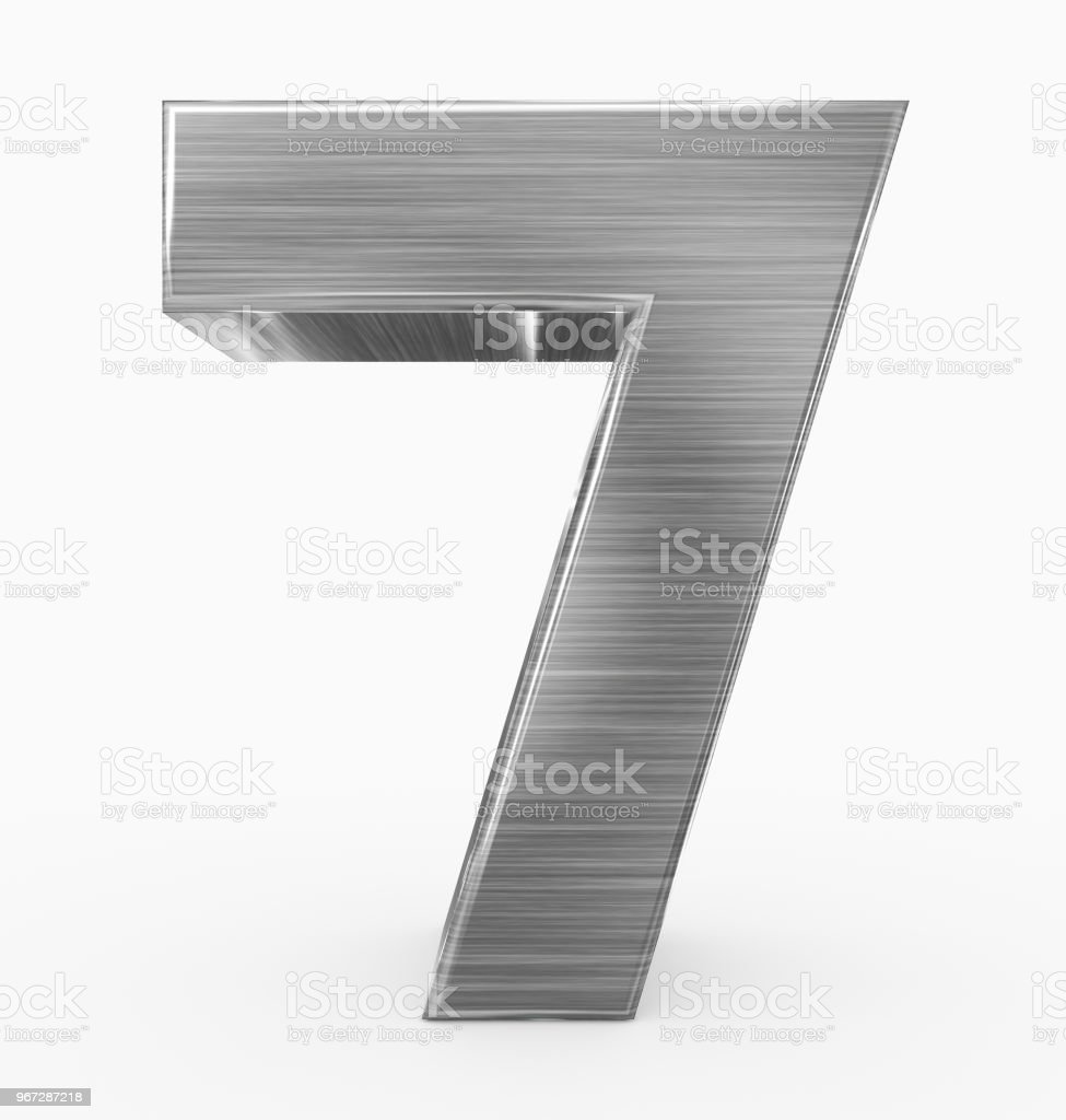 number 7 3d cubic metal isolated on white stock photo