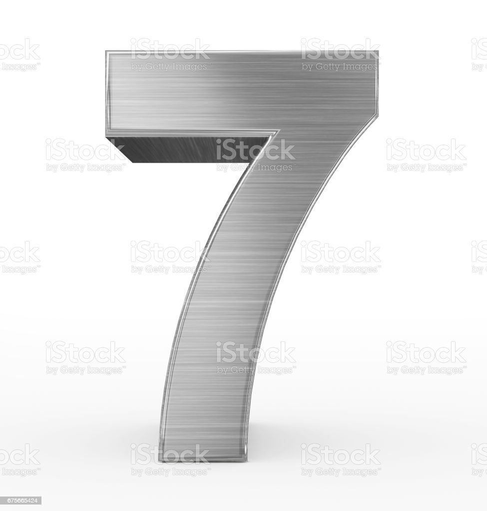 number 7 3d metal isolated on white stock photo