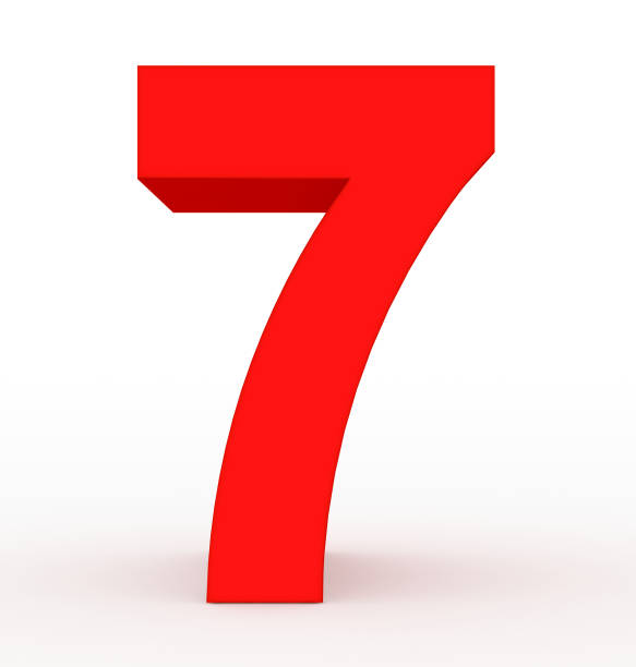 number 7 3d red isolated on white number 7 3d clean red isolated on white - 3d rendering number 7 stock pictures, royalty-free photos & images