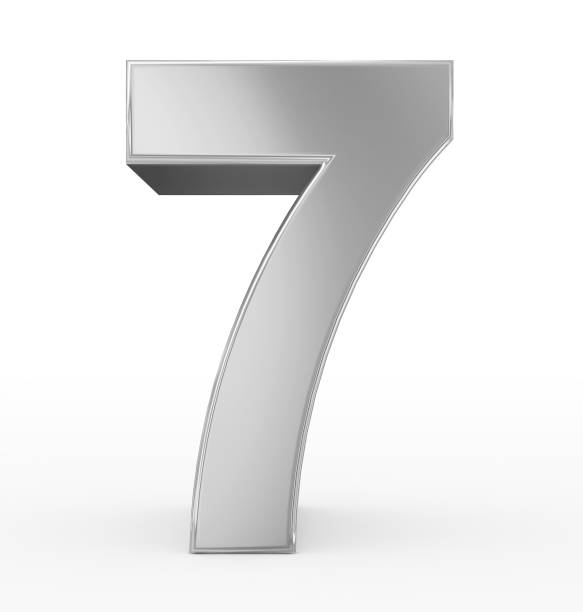 number 7 3d silver isolated on white stock photo