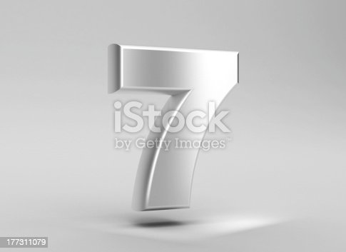 istock number 7 aluminum iron on grey background 177311079