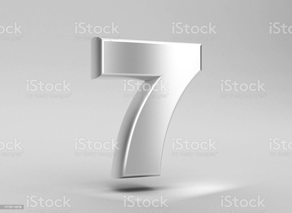 number 7 aluminum iron on grey background stock photo