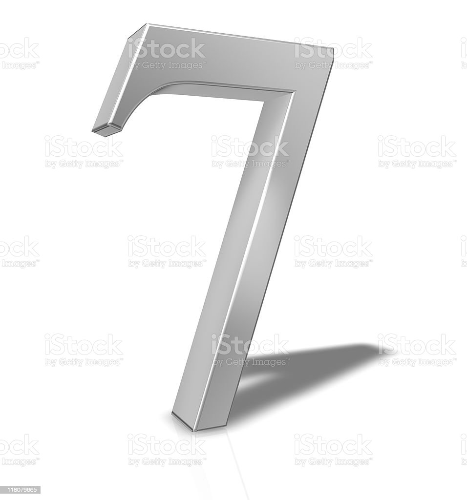 3D Number 7 isolated on white background royalty-free stock photo