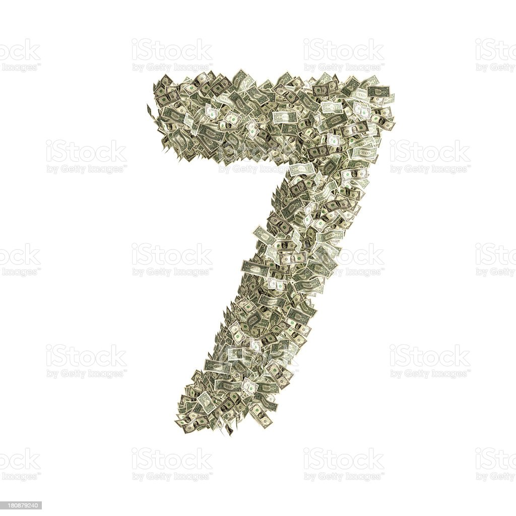 Number 7 made from Dollar bills stock photo