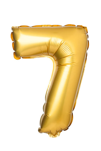 number 7 of golden balloons stock photo