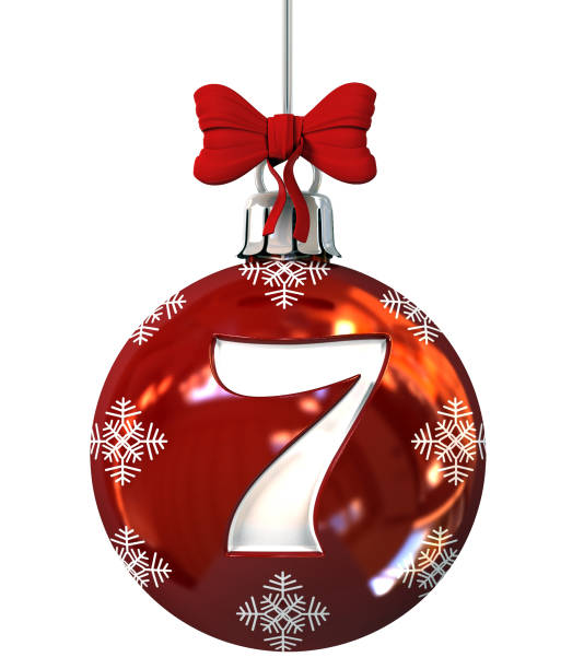 Number 7 on Red Christmas Ball stock photo