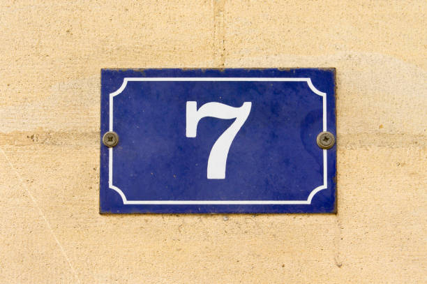Number 7 Enameled house number seven (7) number 7 stock pictures, royalty-free photos & images