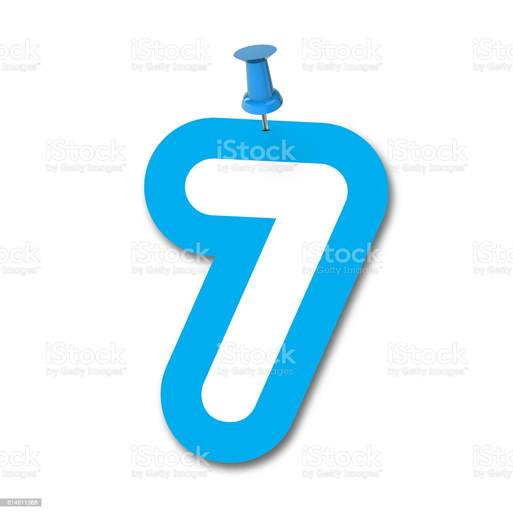 Number 7 pinned on a white background stock photo