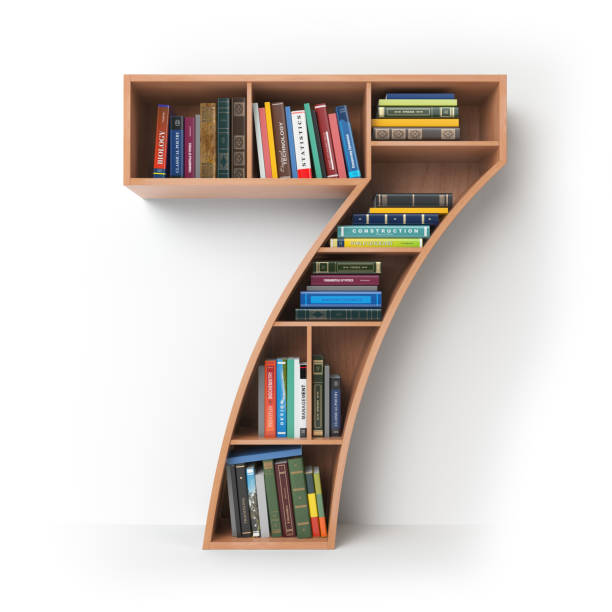 Number 7 seven in the form of shelves with books isolated on white. Number 7 seven  in the form of shelves with books isolated on white. 3d illustration  number 7 stock pictures, royalty-free photos & images