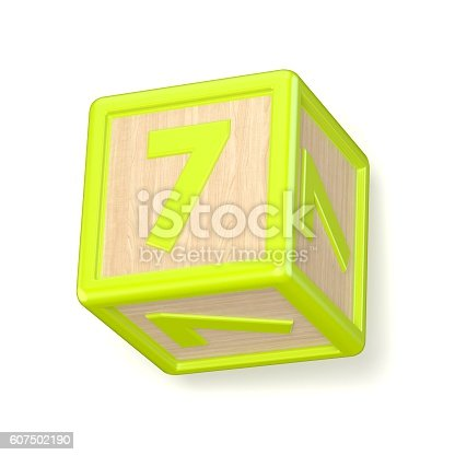 520660497 istock photo Number 7 SEVEN wooden alphabet blocks font rotated. 3D 607502190