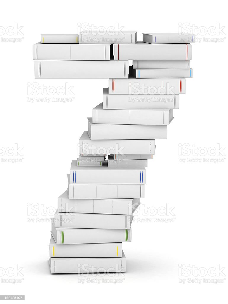 Number 7, stacked from blank books royalty-free stock photo