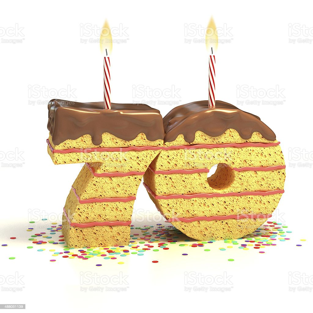 Number 70 Shaped Chocolate Birthday Cake With Lit Candle Royalty Free Stock Photo