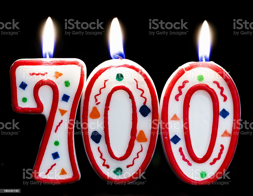 Number 700 Birthday Candle Stock Photo