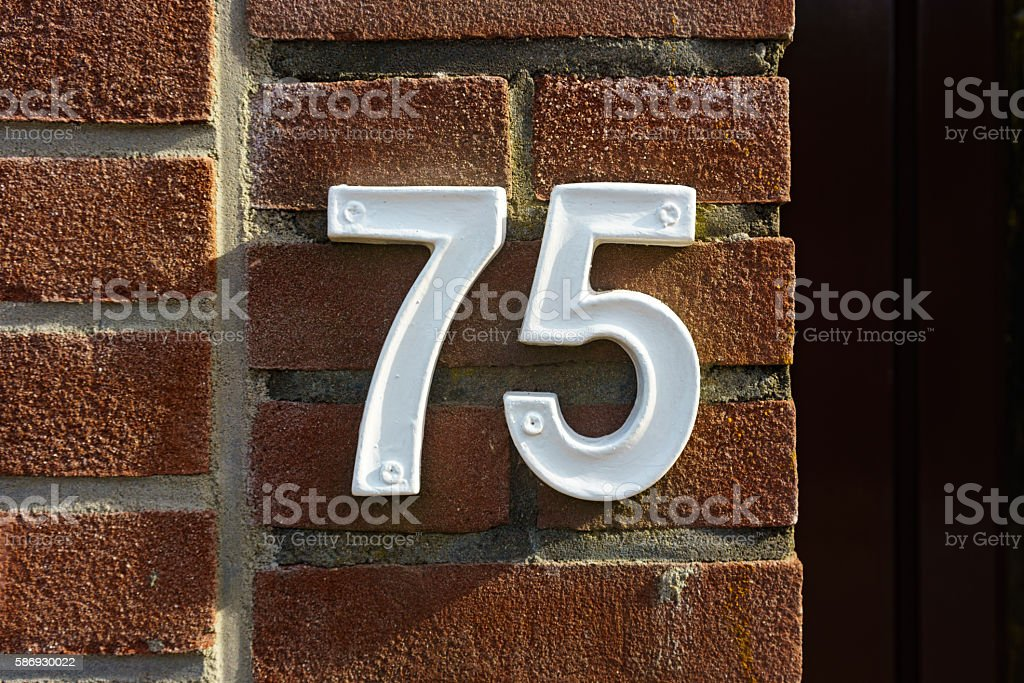 Number 75 stock photo