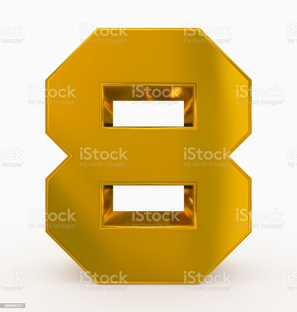number 8 3d cubic golden isolated on white stock photo