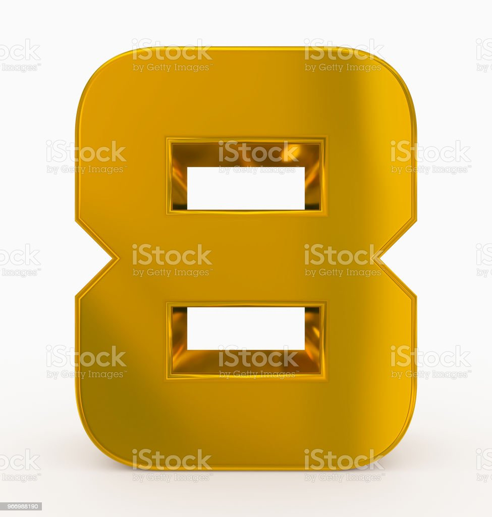 number 8 3d cubic rounded golden isolated on white stock photo