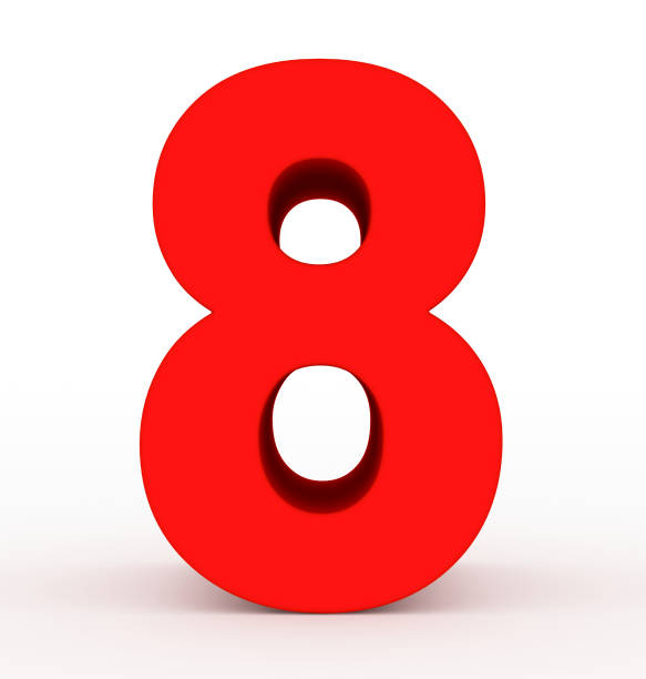 number 8 3d red isolated on white stock photo