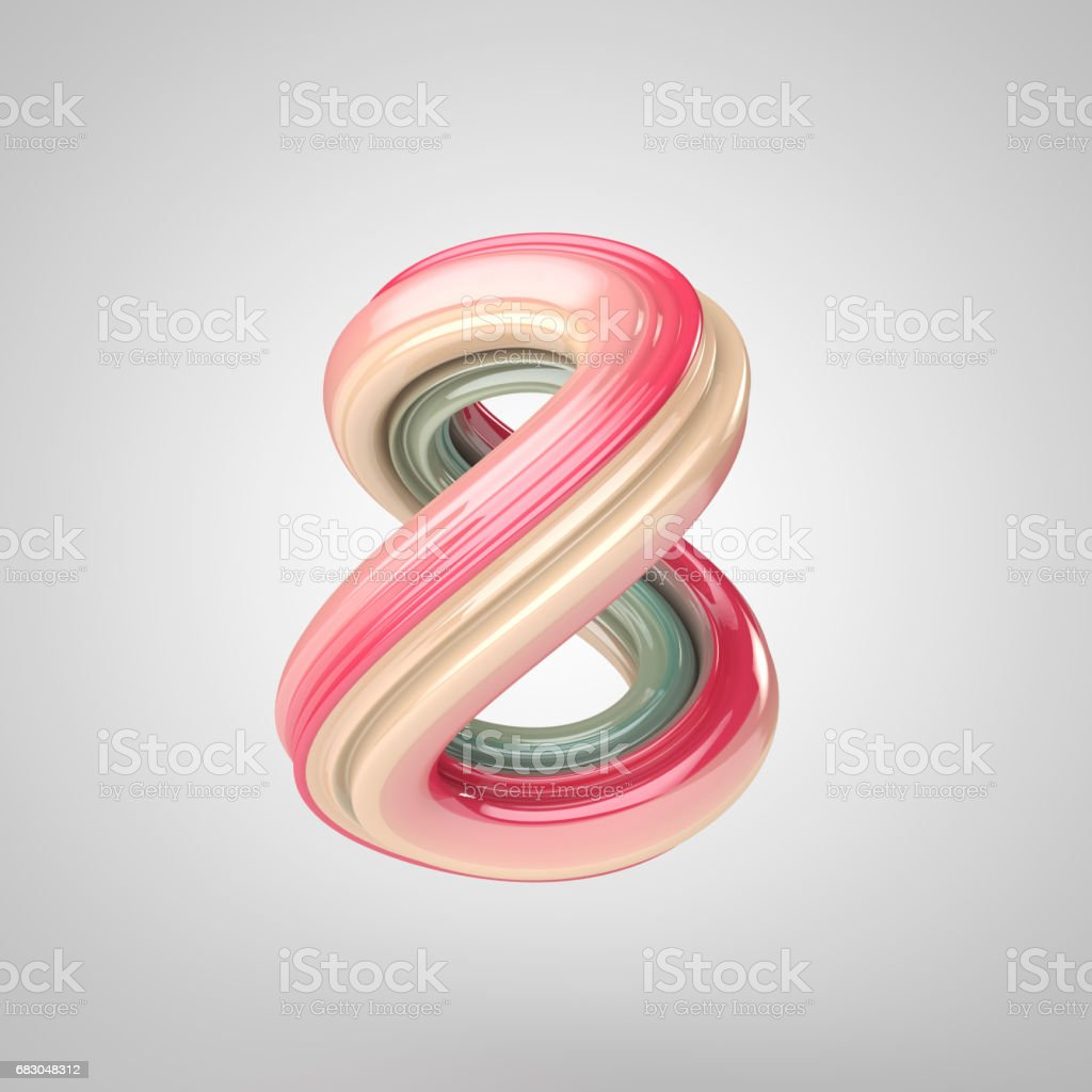 Number 8, 3D rendering colorful and reflective glass royalty-free stock photo