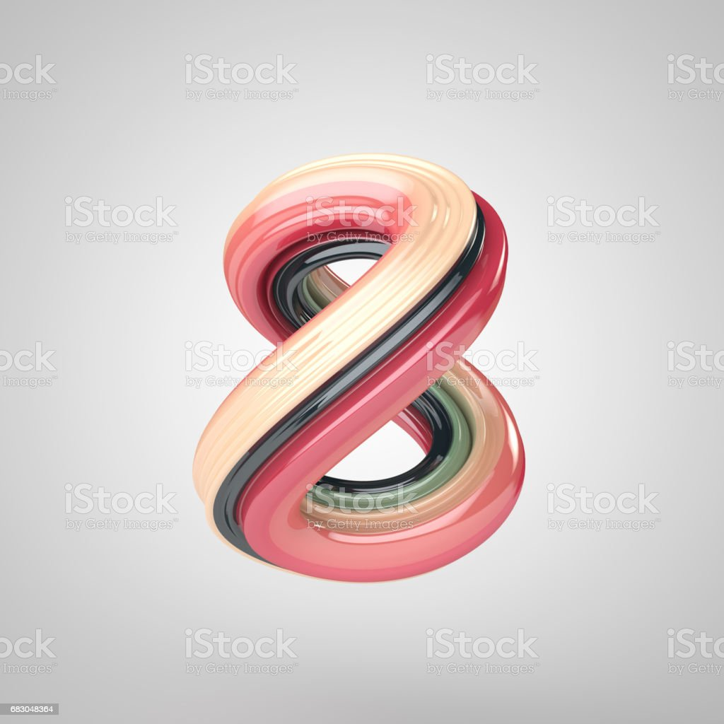 Number 8, 3D rendering colorful and reflective glass stock photo