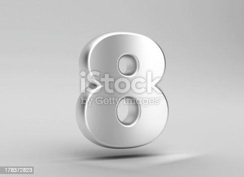 istock number 8 aluminum iron on grey background 178372823
