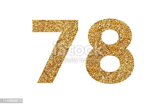 istock Number 8 and 7. Letters and Numbers from golden grains of sand. English alphabet. Isolated on white background. 1143669512