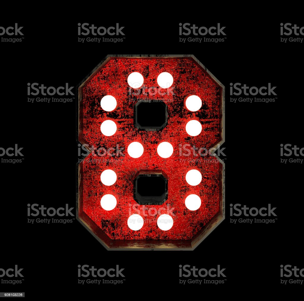 Number 8. Broadway Style Light Bulb Font stock photo