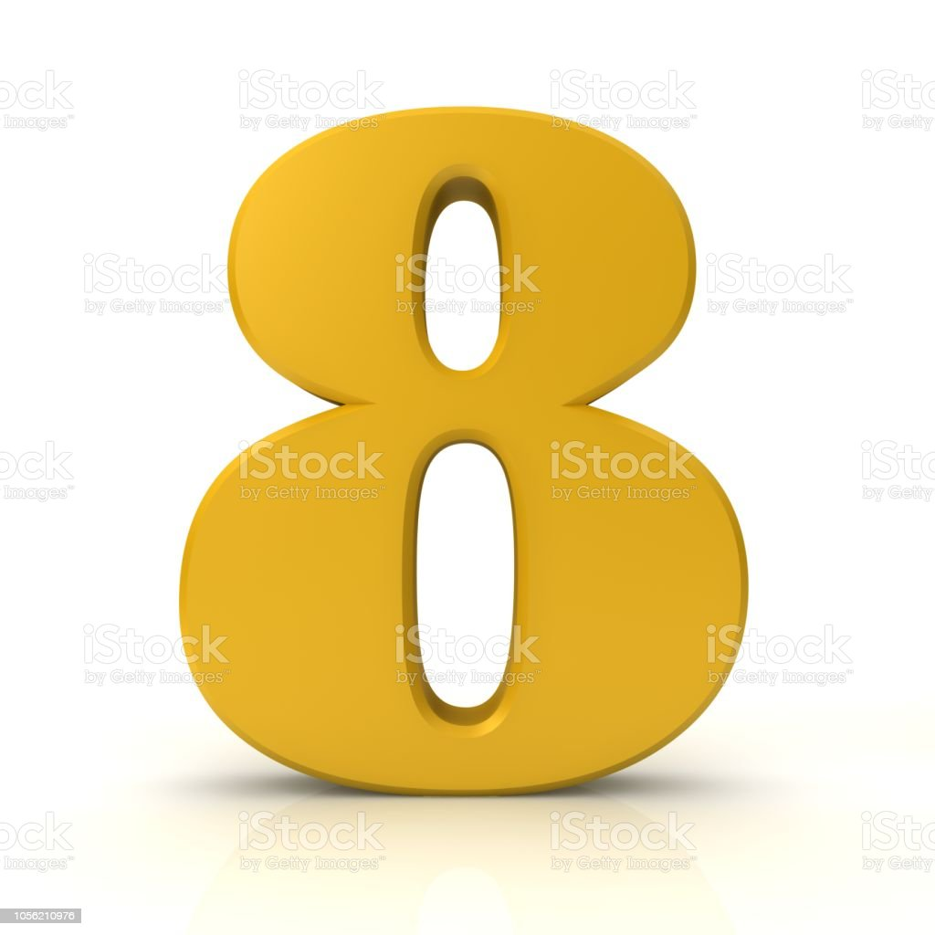 number 8 eight 3d gold sign symbol icon graphic isolated on white background stock photo