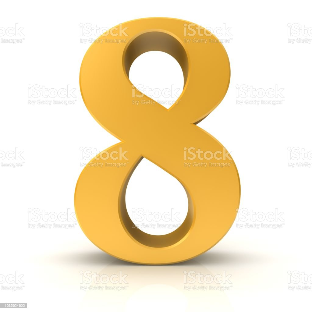 number 8 eight eighth 3d gold numeral sign isolated stock photo