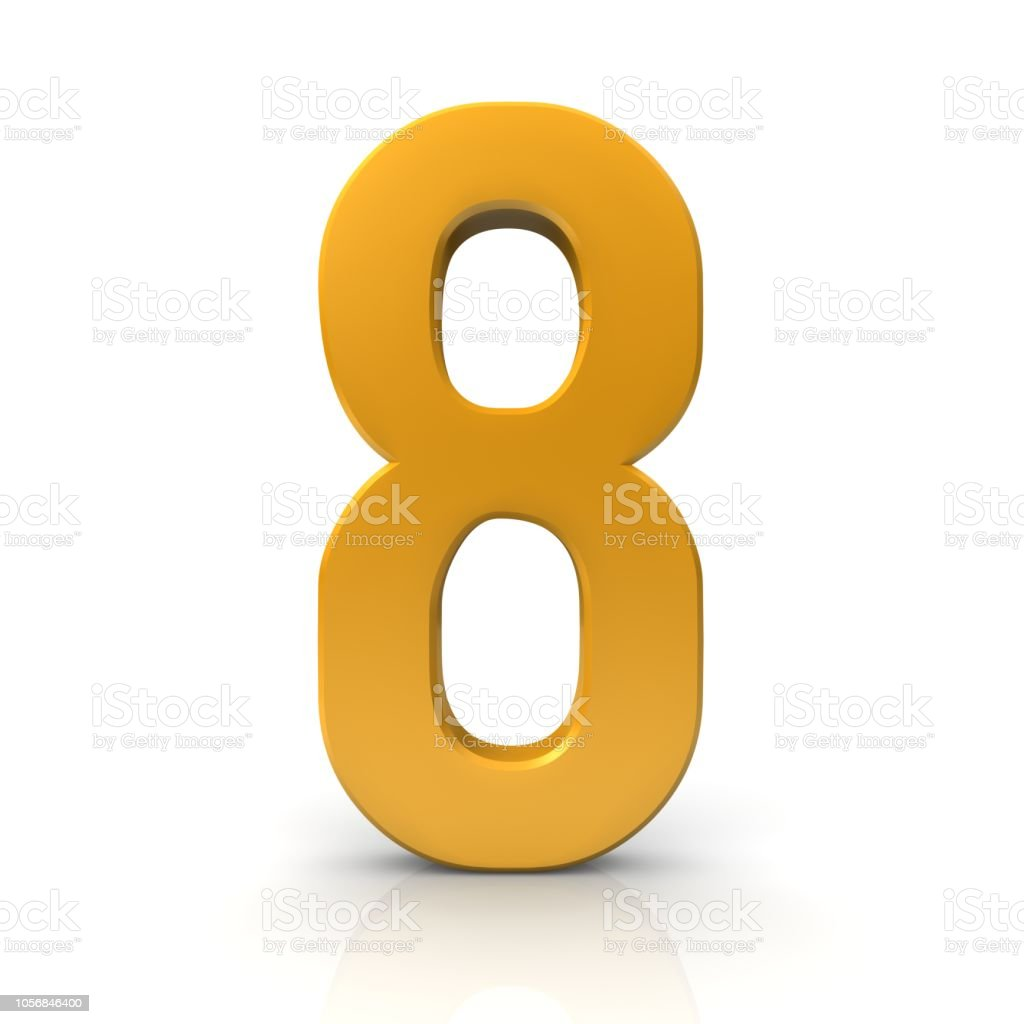 number 8 golden 3d eight sign symbol gold icon render graphic isolated stock photo