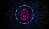 Number 8 Neon Sign on Brick Wall Background