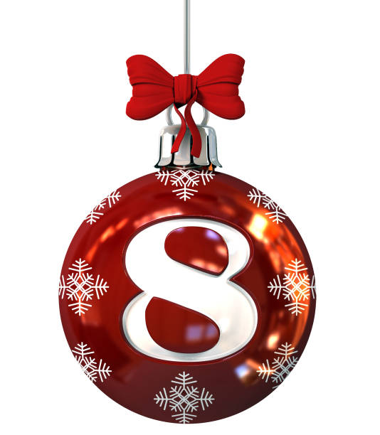 Number 8 on Red Christmas Ball stock photo
