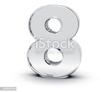 3D rendering of Number 8 made of transparent glass with Shades and Shadow isolated on white background.
