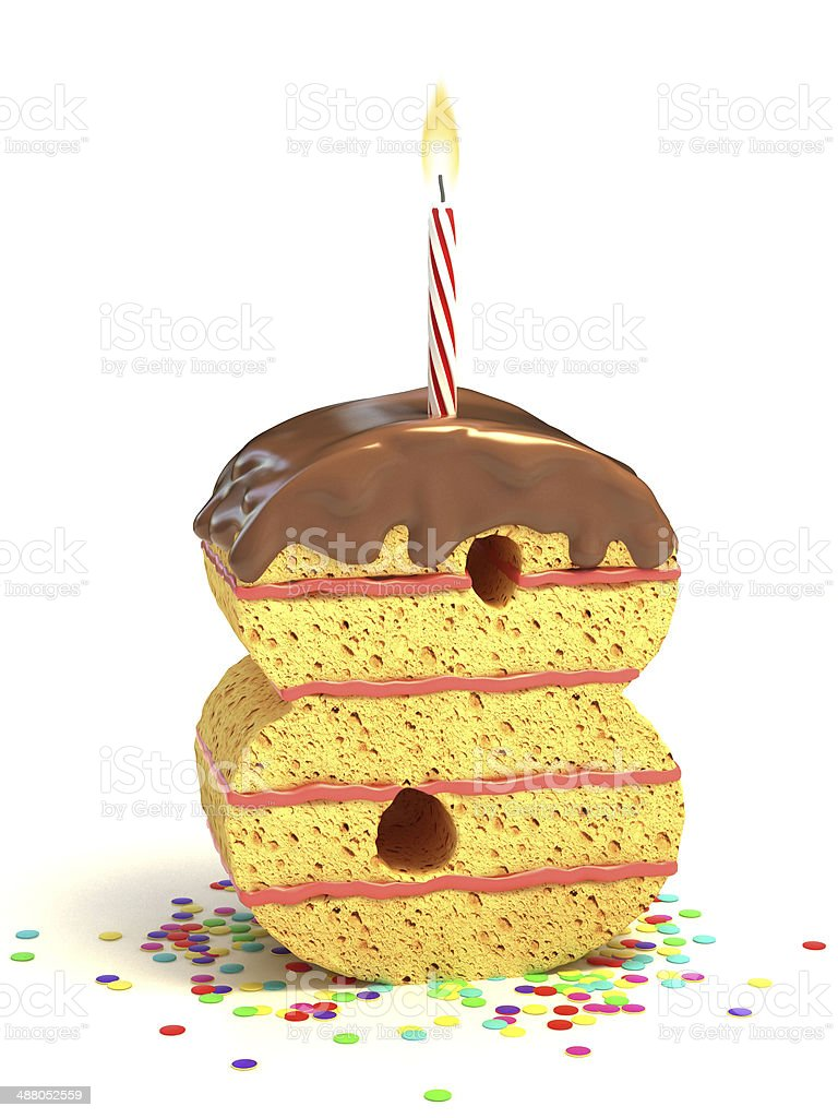 Number 8 Shaped Chocolate Birthday Cake With Lit Candle Royalty Free Stock Photo