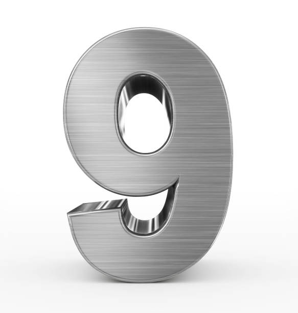 number 9 3d metal isolated on white stock photo