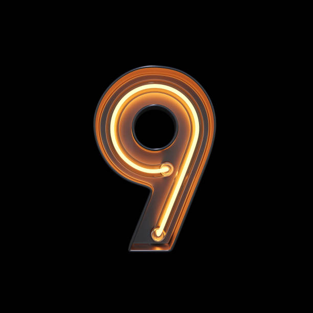 Number 9, Alphabet made from Neon Light with clipping path stock photo