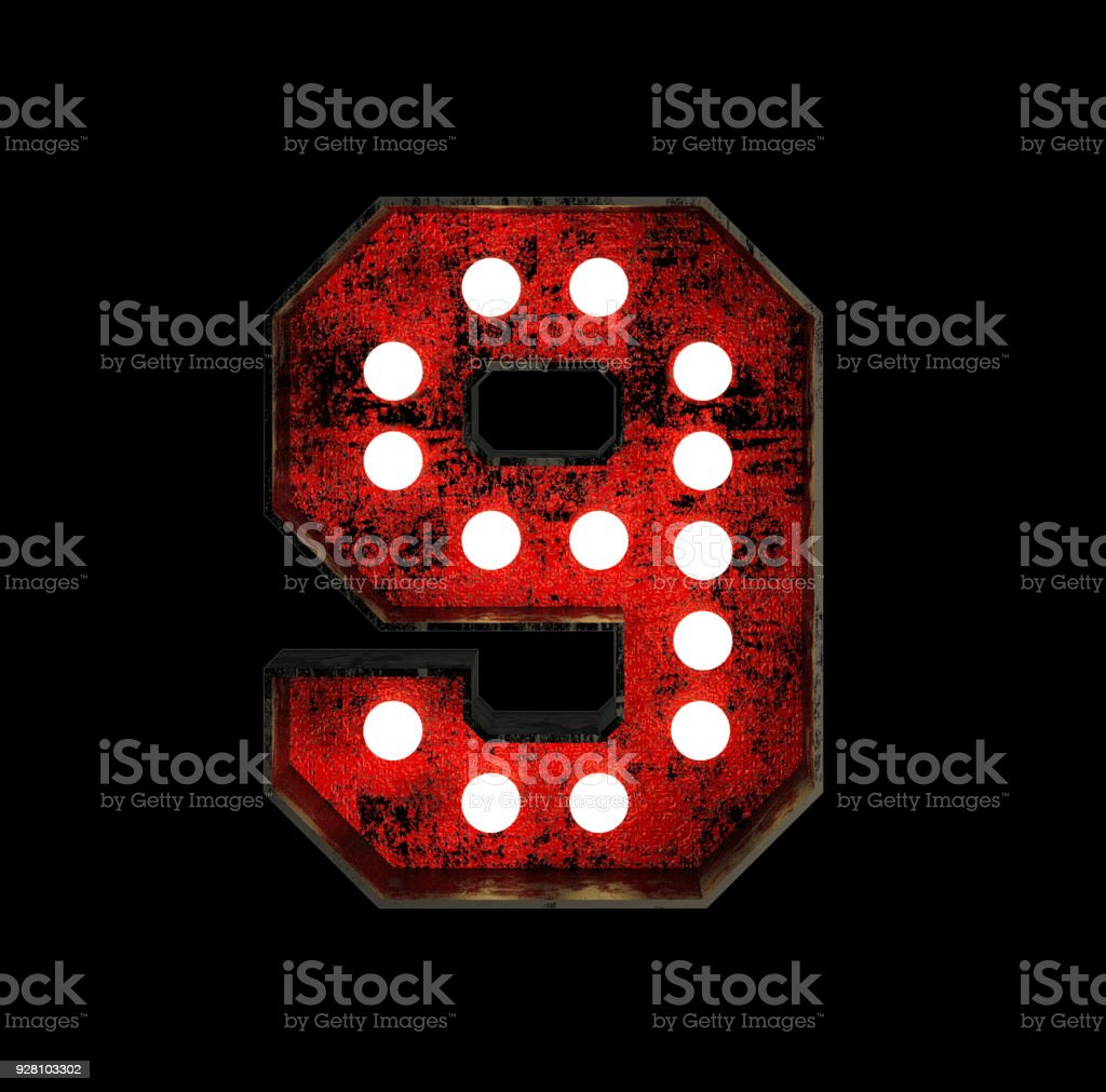 Number 9. Broadway Style Light Bulb Font stock photo