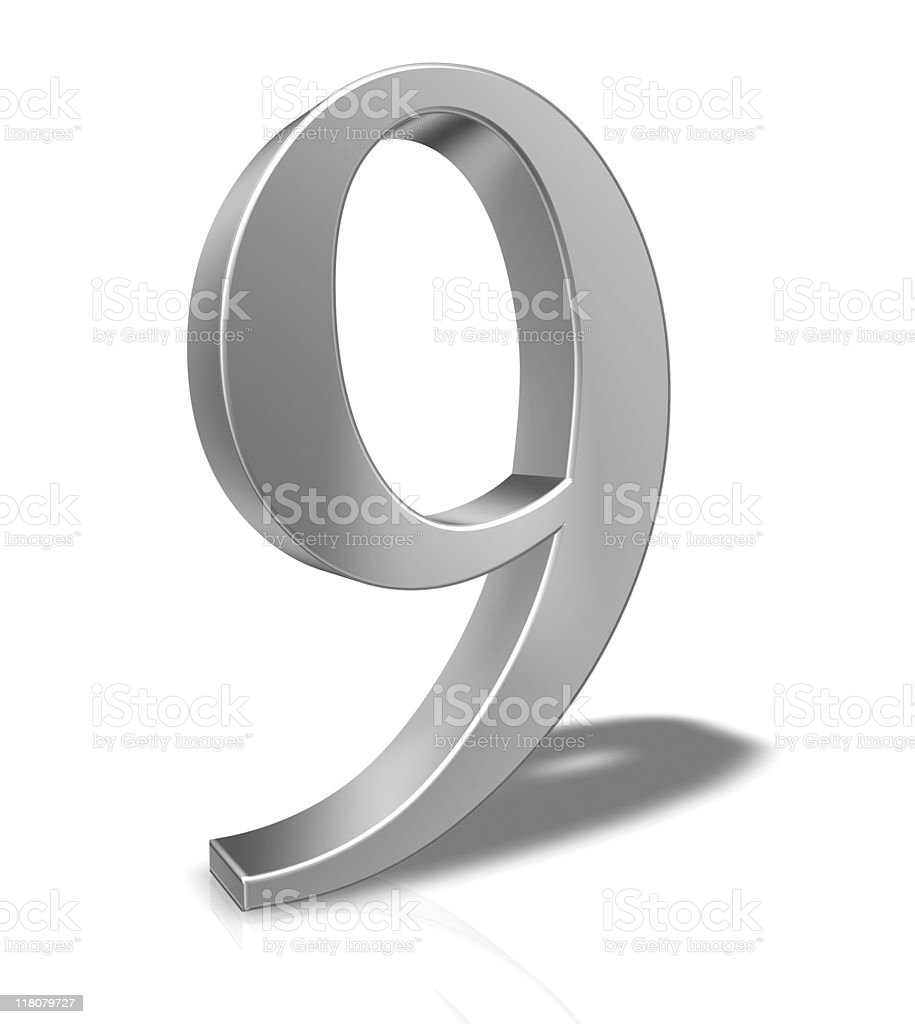 3D Number 9 isolated on white background royalty-free stock photo
