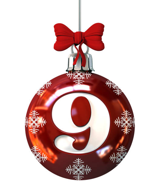 Number 9 on Red Christmas Ball stock photo