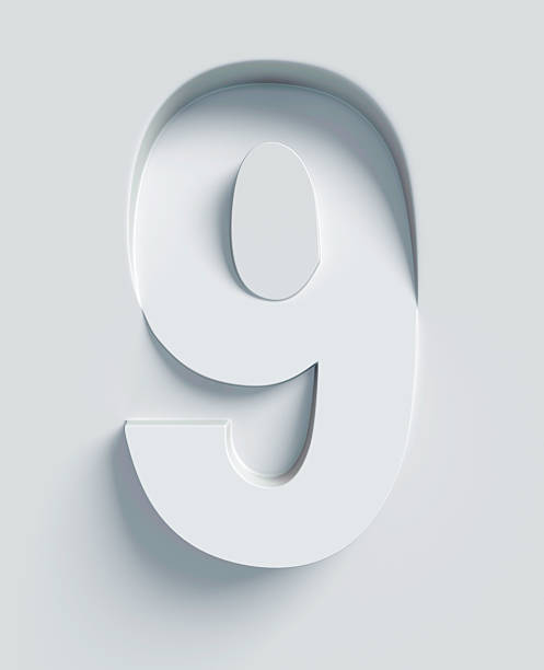 Number 9 slanted 3d font engraved and extruded from surface stock photo