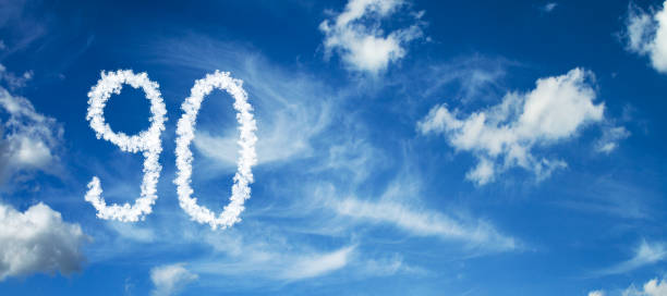 number 90 on a blue background with clouds - number 90 stock photos and pictures