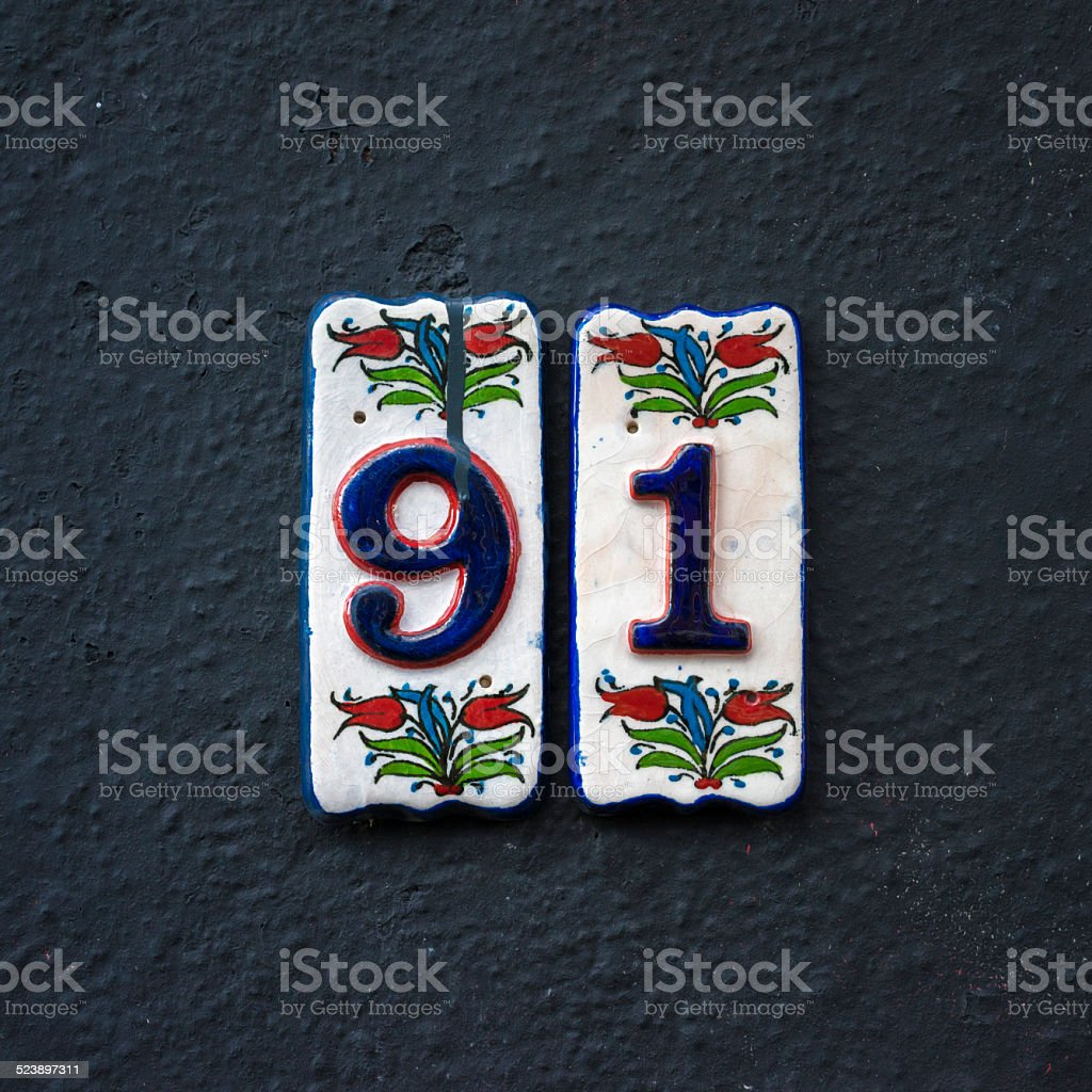 Number 91 stock photo