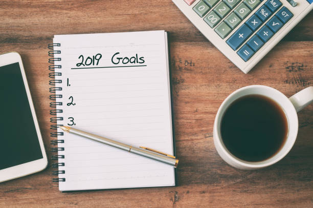 2019 number and text on notepad stock photo