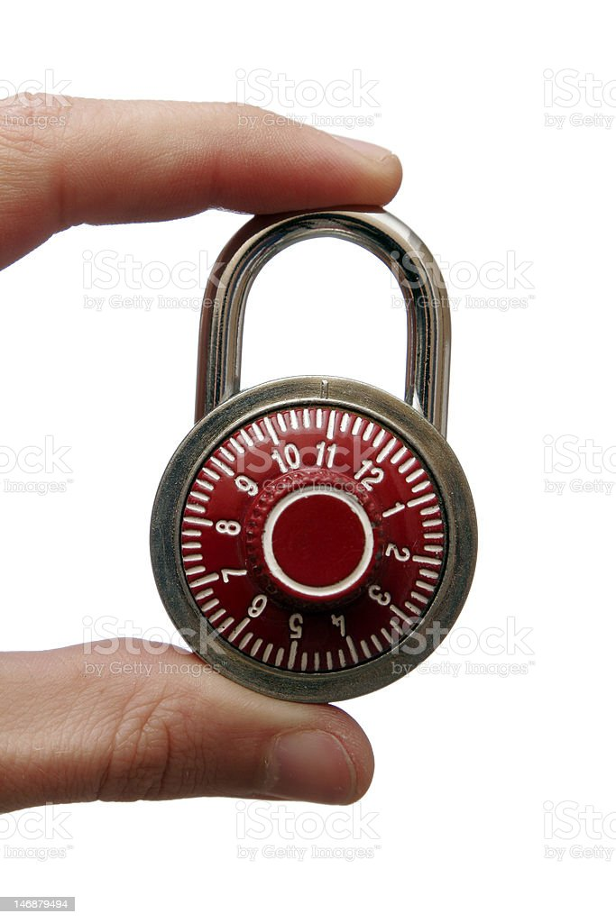 Number Combination Lock In Hand royalty-free stock photo
