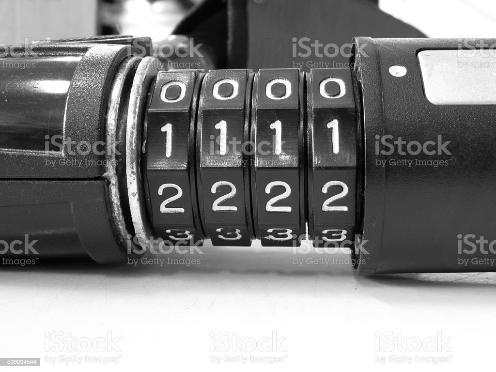 Number combination lock stock photo