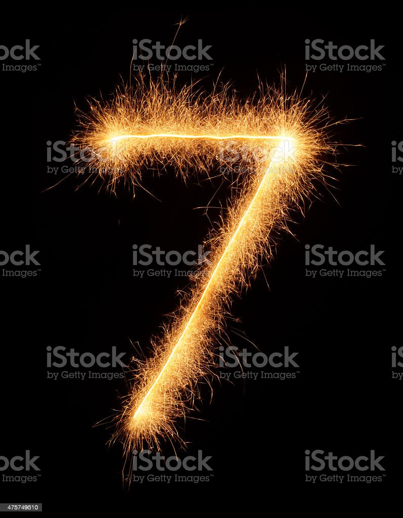 '7' number drawn with bengali sparkles stock photo