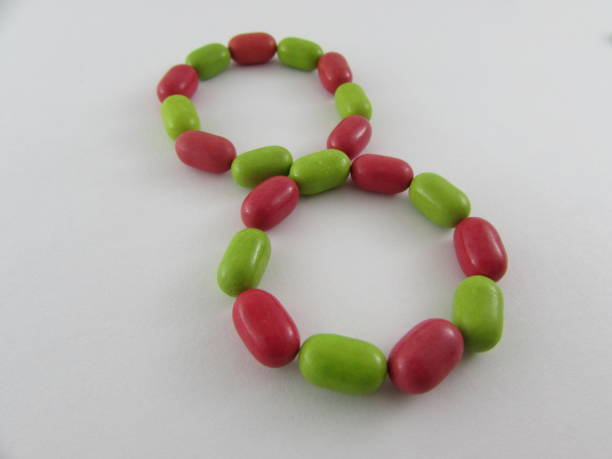 number eight made from multicolored mints - 8 infographic stock photos and pictures