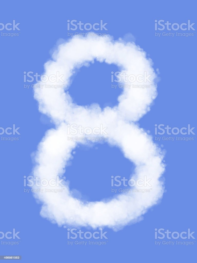 Number eight with clouds stock photo